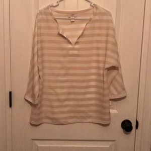 Tan and off white blouse
